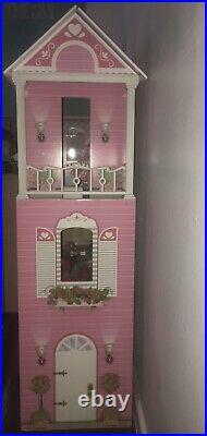 3D DIY 410 Dollhouse Wooden Doll House Barbie Kids With 114pcs/Set Accessories