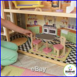 3 Level Dollhouse Girls Kids Play Pretend Wooden Miniature House Toy Gift Set