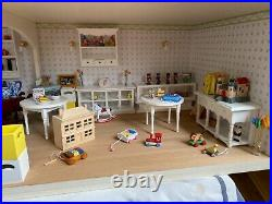 3 storey wooden dolls house and contents