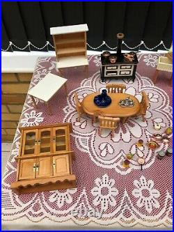 All New Some Still Boxed Vintage 4 Story Wooden Dolls House and Accessories