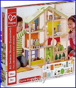 All Seasons Kids Wooden Dollhouse by Hape Award Winning 3 Story Dolls House