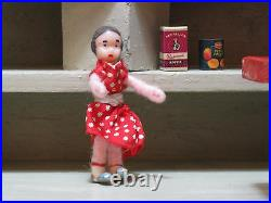 Antique 1950s Wooden Dutch Grocery Store with Dolls 18 Inch Gray Red