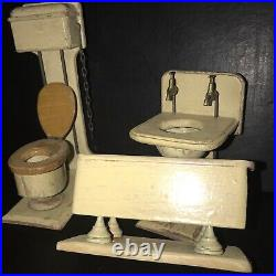 Antique Dolls House Painted Wooden Bathroom Suite
