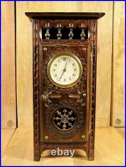 Antique French Wooden Breton Miniature Doll House Furniture Armoire Table Clock