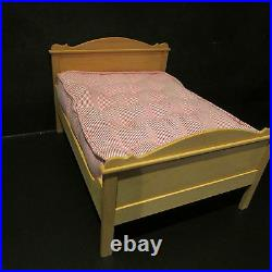 Artisan made wooden double bed with mattress doll house miniature 1/12 scale