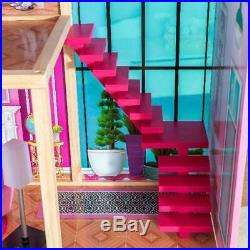 Barbie Size KidKraft Wooden Dollhouse Shimmer Mansion + 30 Fashion Accessories