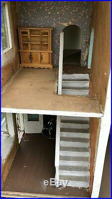 Beautiful Antique Vintage Hand Made Wooden Black & White Dolls House