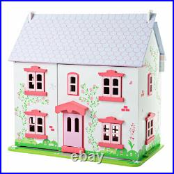 Bigjigs Toys Wooden Heritage Playset Rose Cottage Complete Dolls House