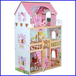 Boppi Tall Wooden Girls Dolls House 3 Storey with 17 Play Furniture Accessories