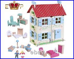 Children Girls Wooden Dolls House Primrose Cottage with Furniture Dolls Gift 3+