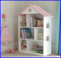Children Kids Wooden Doll House Bookshelf Bookcase Storage Display Shelving Unit