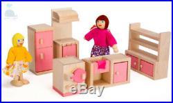 Class Pink Wooden Furniture Dolls House Kitchen Set Miniature No Dolls