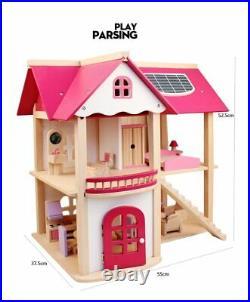 DIY DollHouse Wooden Furniture Miniature Toy Set Doll House 55 x 52.5 x 37.5cm