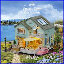 DIY Wooden Doll House Kit with Furniture Self Assembly Miniature