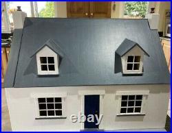 DollsHouse Handmade White and Blue Wooden with furniture
