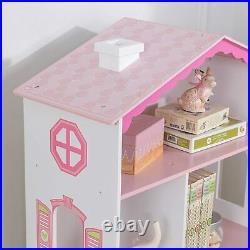 Dolls House Cottage Wooden Bookshelf For Kids, Sturdy Wood Construction