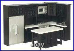 Dolls House Modern Black Fitted Kitchen Furniture Set Miniature Wooden 112