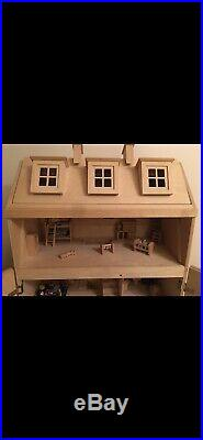 ELC Large Wooden dolls house With Furniture And People