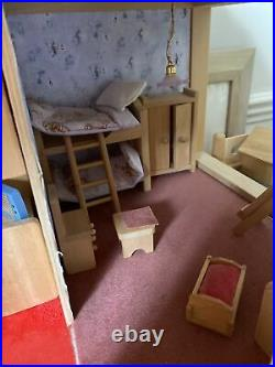 ELC WOODEN DOLLS HOUSE WITH 4 Extensions And Furniture And Lighting. 10 Rooms