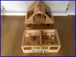 ELC Wooden Dolls House, Basement & 8 Sets Of Furniture & Family, Excellent Cond