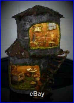 Fairy House Fairy Garden, Fairy Lights, Dollhouse, Wooden Sculpture