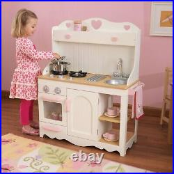 Girls Kids Pink Prairie Kitchen Cooking Wooden Pretend Play Set Toy Kitchenware