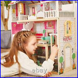 Girls Wooden Doll House Large Dollhouse With Furniture Kids Children Playtime