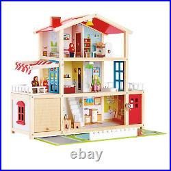 HAPE E3405 Doll Family Mansion Wooden Plastic House inc 29 pcs Children 3 years+