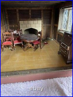 Hand Made 1988 Wooden Tudor Dolls House, 8 Rooms, Attic, Furniture, 100 X 60cm
