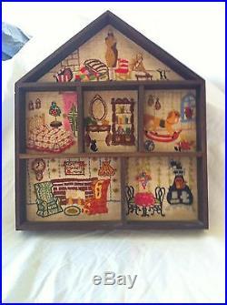 Handmade wooden doll house, vintage