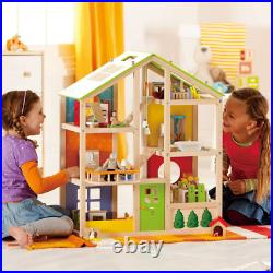 Hape E3401 All Season House- Fully Furnished Wooden Dolls House