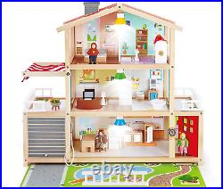 Hape E3405 Doll Family Mansion Fully Furnished Wooden Dolls House