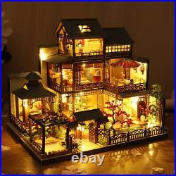 Japanese Villa Wooden DIY Doll House Miniature Handmade Furniture LED Light