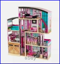 KidKraft Wooden Dollhouse, Shimmer Mansion, 30accessories, Barbie proportioned