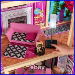 Kidkraft Shimmer Dollhouse Large Girls Wooden Dolls House Fits Barbie Dolls