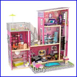 Kidkraft Uptown Dollhouse Girls Wooden Doll House Fits Barbie Dolls