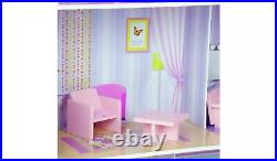 Kids Dreamland 12inch Big Wooden Purple Pink Dolls House Best Gift For Your Girl