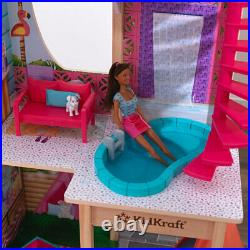 Kids play Pool Party Mansion Dollhouse with 26 Accessories Wooden doll house 3+