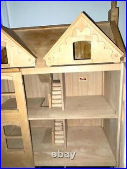 LARGE WOODEN DOLLS HOUSE 3 Storey READY FOR DECORATING FABULOUS 112