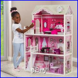 Large 3 Storey Dollhouse Toddlers Girls Wooden Doll House Mansion Pink Furniture