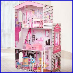 Large Dolls House Wooden Dollhouse for Kids With 3 Floors and Furnitures Cottage