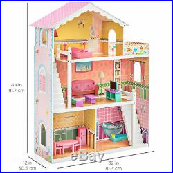 Large Multicolor 3 Story Kids Wooden Dollhouse Toy Play Set 17 Furniture Deck