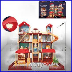 Large Tall Town Wooden Doll Houses Furniture Room Kit With Light Fits Kids Toy