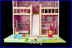 Large Wooden Doll House DARIA + 20 pieces, with a BIG SWIMMING POOL