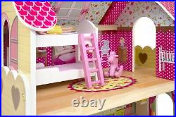 Large Wooden Doll House Furniture + Dolls + Led Gifts For Kids Fun Present