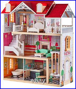 Large Wooden Dolls House Girls Toy with Furniture Playset Pink Fits Barbie New