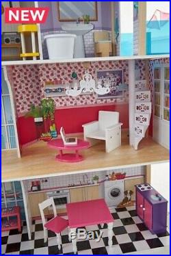 Large Wooden Dolls House Kids Miami Mansion 4 Storey House 8 Pieces Furniture