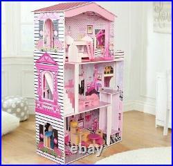 Large Wooden Dolls House Suitable for Barbie Dolls 17PCS Furniture Cottage
