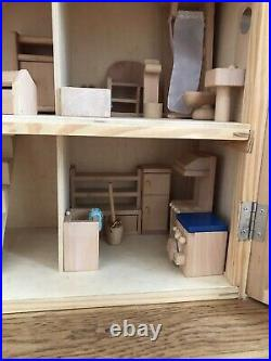 Large Wooden Dolls House With Furniture