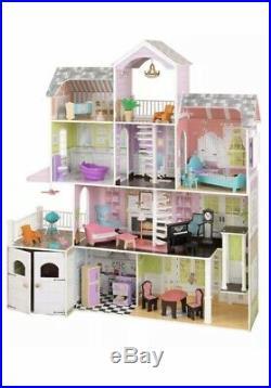 Larrge KIDKRAFT GRAND ESTATE WOODEN DOLLHOUSE Dolls House Furniture Fit Barbie